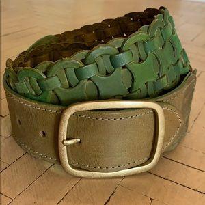 Accessories - Green Leather Woven Geometric Belt India Tan 30-34